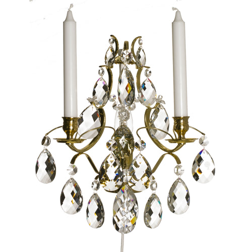 Baroque Polished Brass Wall Sconce with almond crystals