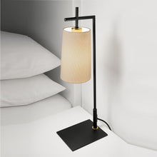 Brushed bronze and satin black lamp with tapered shade - detail