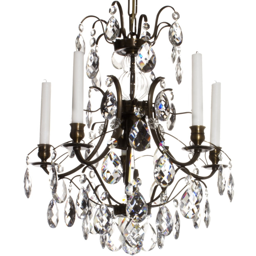 Dark Brass 5 arm Baroque style chandelier with clear crystals