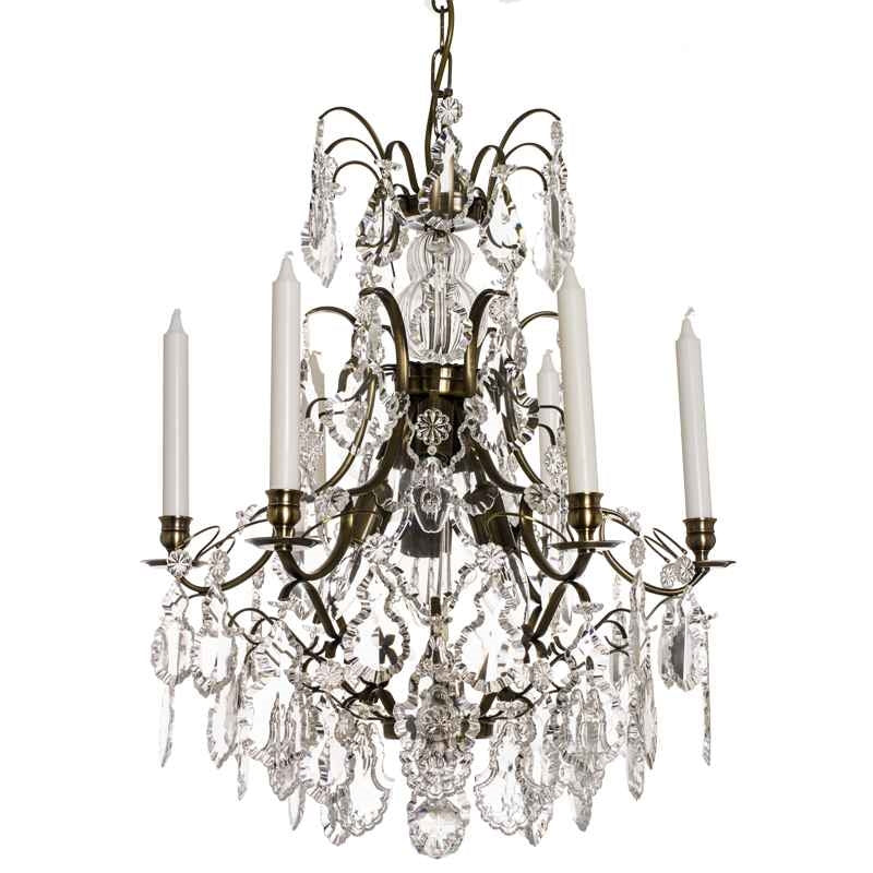 Dark Brass 6 arm Baroque style chandelier with pendeloque crystals