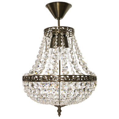 Dark Brass Empire chandelier with crystals