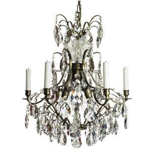 Dark brass 6 arm Baroque style chandelier with almond crystals