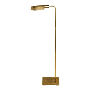 Floor standing antique brass reading lamp
