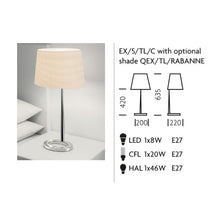 Exec Chrome Lamp With Shade - measurements