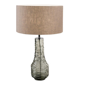 Veneto Glass Lamp With Black Bronze and Linen Shade