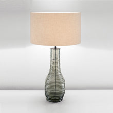 Veneto Glass Lamp With Black Bronze and Linen Shade - details