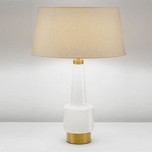 Milk coloured glass lamp with shade - details