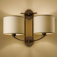 Glasgow penny bronze wall light with double shade - detail
