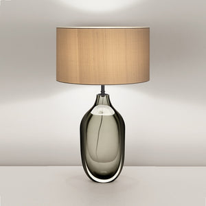 Vento Glass Lamp With Black Bronze Metal Work and Silk Shade - detail