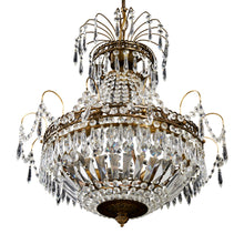 Large Gustavian Crystal Chandelier