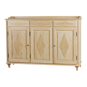 Gustavian 3 door sideboard with diamond pattern