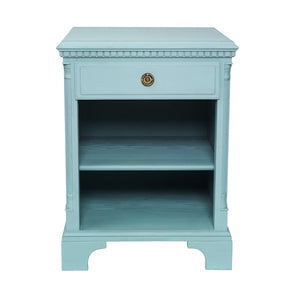 Gustavian bedside cabinet with shelf front painted detail