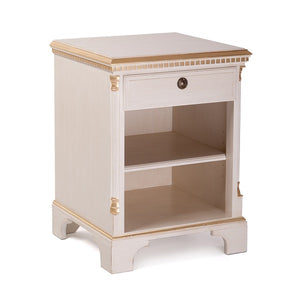Gustavian bedside cabinet with shelf - side detail