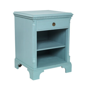 Gustavian bedside cabinet with shelf - painted finish - side detail