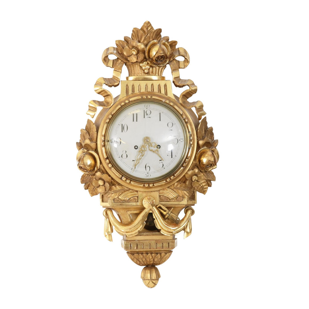 Gustavian wall clock detail