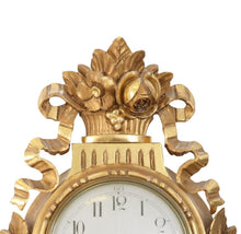 Gustavian wall clock detail carving