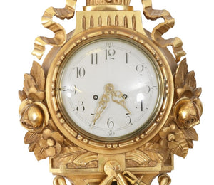 Gustavian wall clock detail face