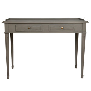 Gustavian 2 drawer desk with detailing - front view