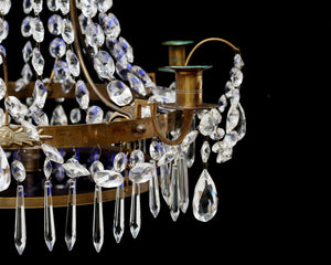 Gustavian Crystal Chandelier with Decorative Blue Bowl