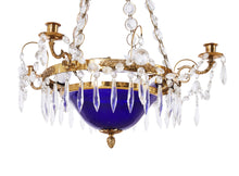 Gustavian  Blue Bowl Chandelier 1900's