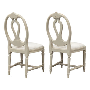 Gustavian carved rose chairs with single bud