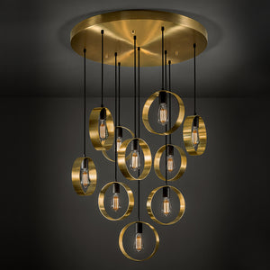 Brushed brass with satin black chandelier - detail of light