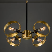 Brushed brass with satin black chandelier - detail 2