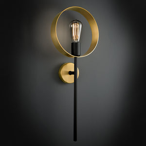 Halo single brushed brass wall light - details