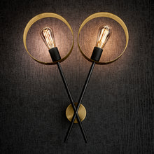 Double Halo Brushed Brass Wall Light - details with bulbs