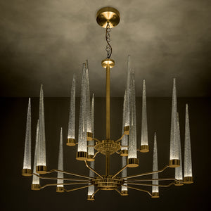 English brass with silver flecked clear glas pendant light  - detail light