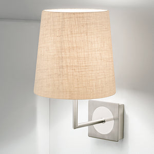 Brushed nickel and polished chrome wall light with shade - detail