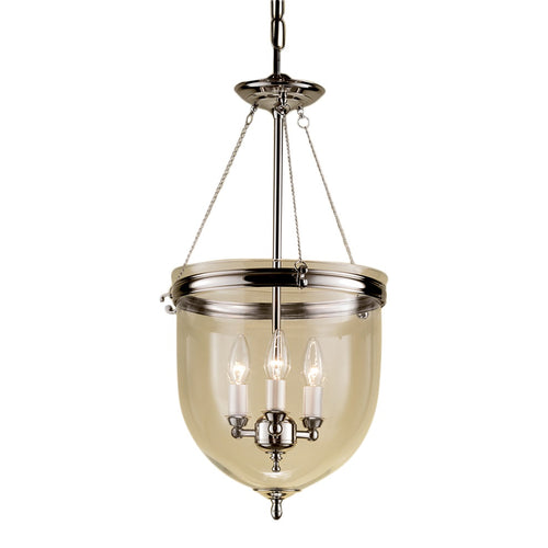 Polished nickel lantern with glass