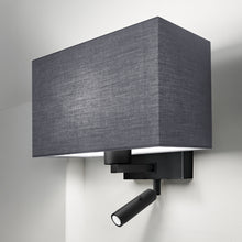 Combination wall light with LED reading light in satin black - detail