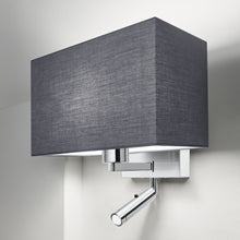 Combination wall light with LED reading light in polished chrome - detail