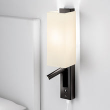 Slender black bronze wall light with shade, LED reading light and USB - detail