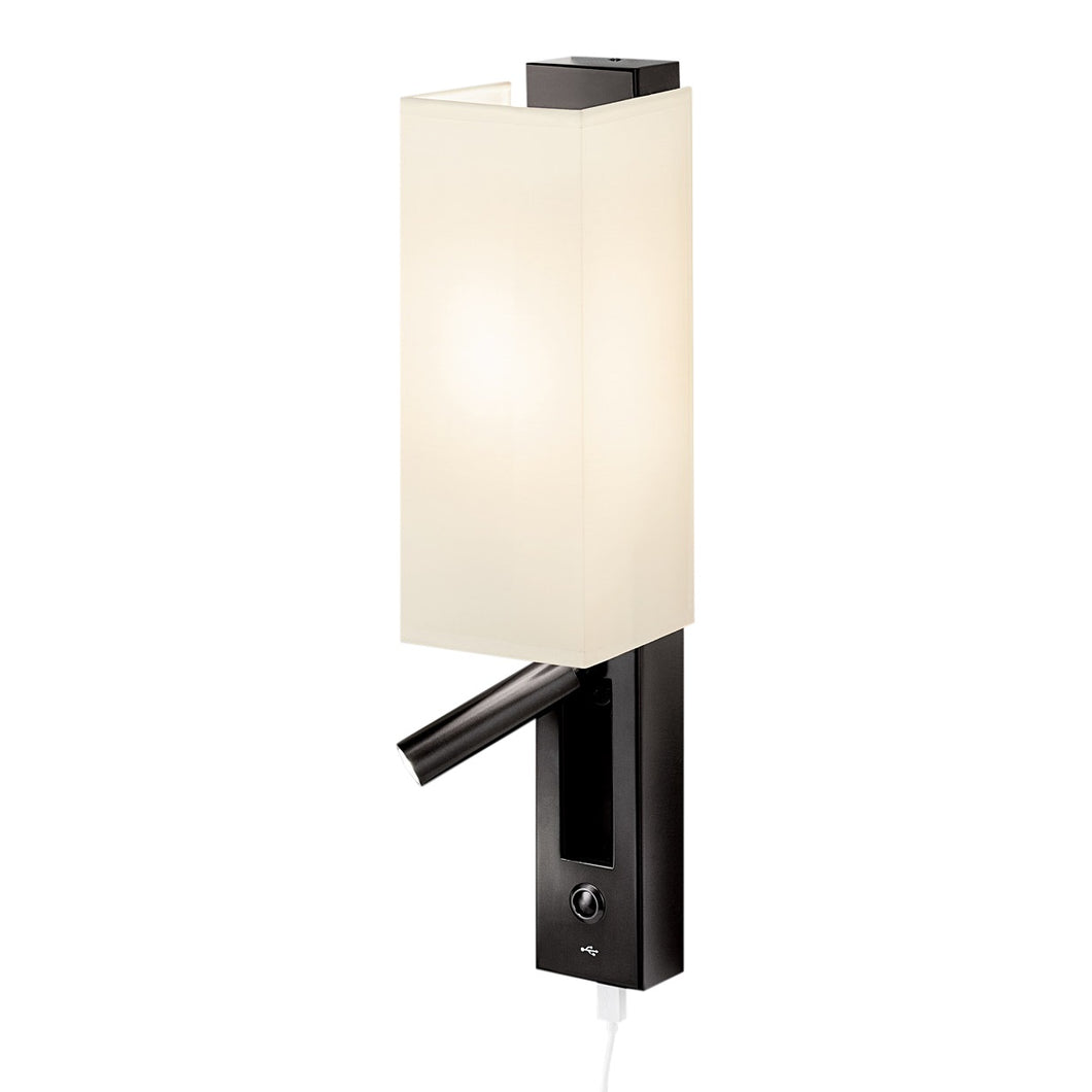 Slender black bronze wall light with shade, LED reading light and USB