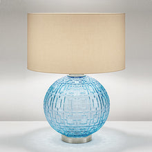 Aqua glass with brushed nickel table lamp and shade - detail