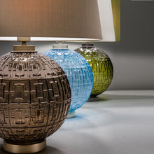 Olive glass with black bronze table lamp and shade - coloured detail