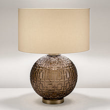 Mocca glass with golden bronze table lamp and shade - detail