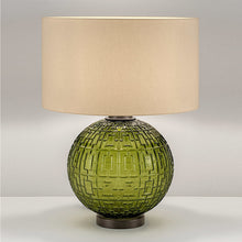 Olive glass with black bronze table lamp and shade - detail