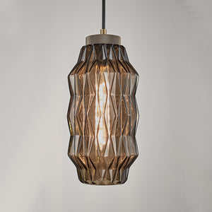 Laguna Pendant with geometric patterns - mocca - detail