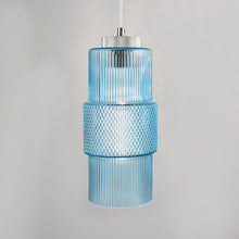 Aqua knurled glass pendant light - detail
