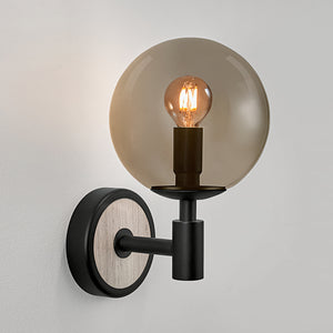 Lunar wall light - satin black and smokey glass - detail