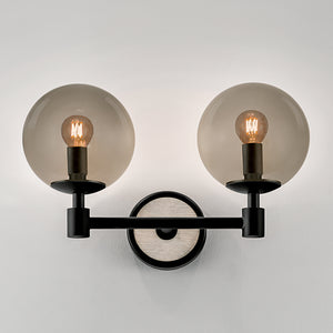 Lunar double wall light - satin black and smokey glass - detail
