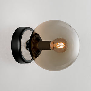 Lunar single wall light - Satin black and smokey glass - detail
