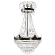 Large dark brass Empire chandelier with crystal octagons