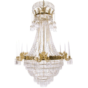 Large light brass colour Empire chandelier with crystal octagons and 12 candle holders
