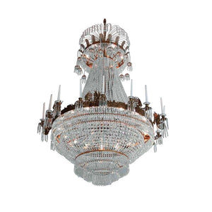 Large light brass colour Empire chandelier with crystal octagons