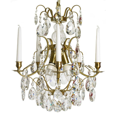 Light Brass 5 arm Baroque style chandelier with clear crystals