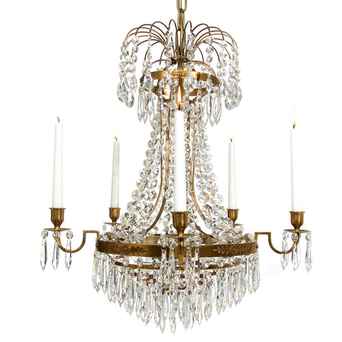 Light Brass Empire 5 arm chandelier with crystals